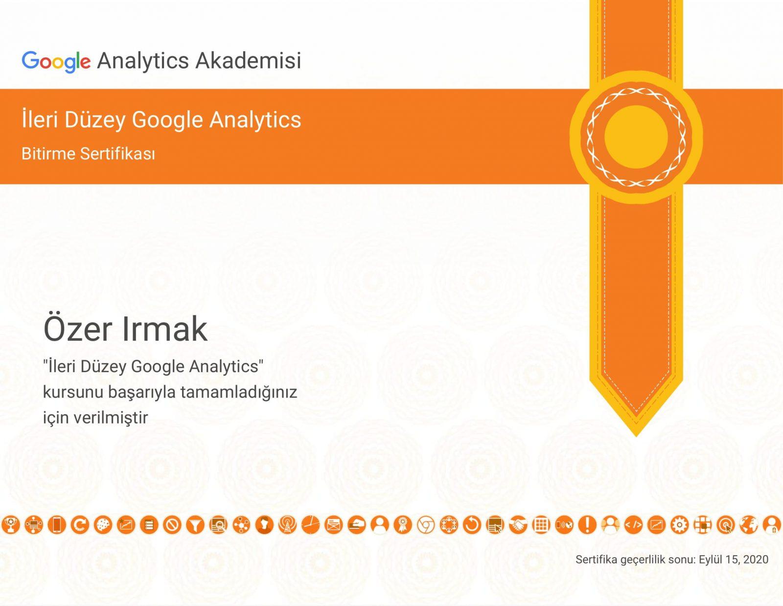leri Düzey Google Analitiks Sertifikasyonu - SERTİFİKALARIM