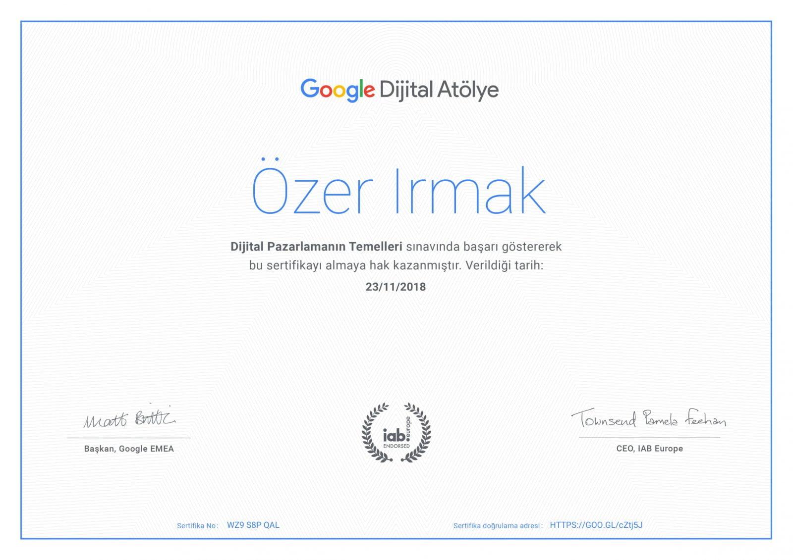 Dijital Atölye Sertifikasyonu - SERTİFİKALARIM