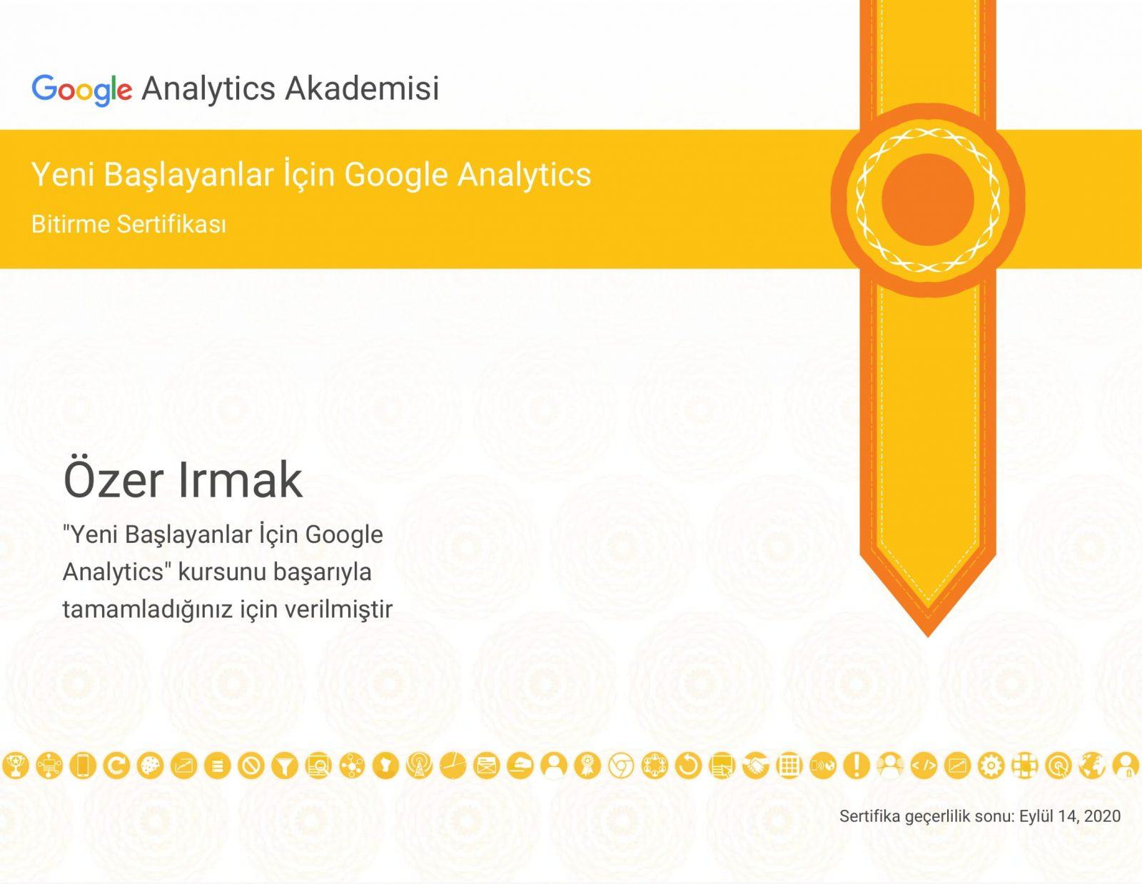 Yeni Başlayanlar İçin Google Analitiks Sertifikasyonu - SERTİFİKALARIM